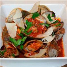 Clams and Sausage in Spicy Marinara with Crostini Allrecipes.com  www.ClassicoFreshTake.com