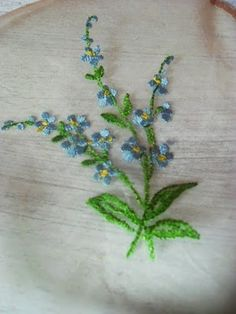 Image result for embroidered forget me nots