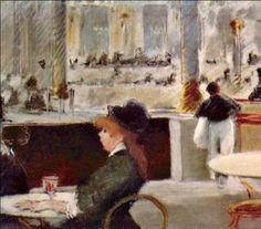 Intérieur d'un café, place du Théâtre français - Edouard Manet 1880. Impressionism; the depiction of everyday life sprouting from Haussmannization in mid to late 19th century Paris