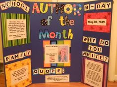 Colorful display for author of the month! Could create an electronic version too!