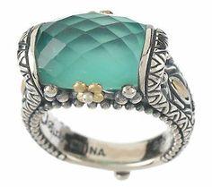 Barbara Bixby Chrysoprase Doublet Ring         Sterling/18K