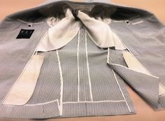 DAVIDE TAUB: G&H Bespoke: Semi-Lined, Grey/Off-White Bengal Str...