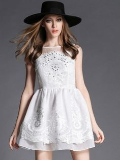 Shop White Embroidery Sheer Panel Overlay Skater Dress from choies.com .Free shipping Worldwide.$35.99