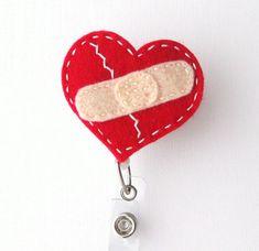 Healing Heart - Name Badge Holder - Cardiac Nurse Badge Reels - Retractable ID Badge Holder - Felt Badge Reel - Peds RN Badge - BadgeBlooms Cardiac Nursing, Surgical Nursing, Retractable Id Badge Holder, Healing Heart, Id Badge Reels, Nurse Badge, Name Badges, Felt Patterns, Felt Applique
