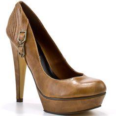 Michael Antonio Studio Women's Liko Pump - Tan Pu (67 CAD) ❤ liked on Polyvore featuring shoes, pumps, heels, zapatos, tan pu, tan pumps, tan platform pumps, platform pumps, sexy high heel pumps and sexy platform pumps