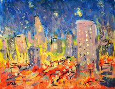 City Painting Abstract Modern Art   Impressionism by by @RussPotak, $179.00