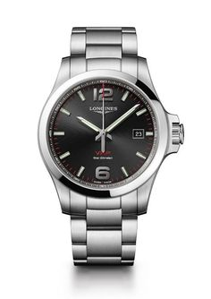 Longines Conquest VHP 3-Hand (Ref. L3.726.4.56) with black dial. More @ http://www.watchtime.com/wristwatch-industry-news/watches/longines-conquest-v-h-p-a-new-quartz-revolution/ #longines #watchtime