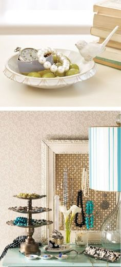 So many great jewelry storage ideas in one photo! We love a pretty little dish to hold baubles. A cake stand is clever