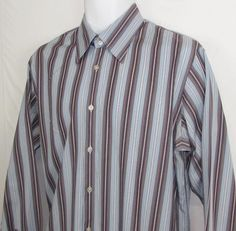 Men Black Label Hugo Boss Striped Dress Shirt 100% Cotton Classic Fit sz 16 #HUGOBOSS