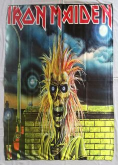 5aa068281 Details about IRON MAIDEN - Iron Maiden 1990/91 FLAG Heavy death METAL  cloth poster