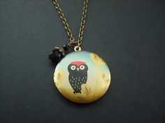 red top little black owl locket by KeoniDesign on Etsy, $35.00