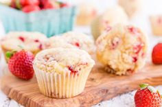 These Strawberry Coffee Cake Muffins are made with sweet fresh berries and buttermilk and topped with a delicious sugar and butter crumble! They're super easy to make and readers have called them the best muffin recipe they've ever had! Best Muffin Recipe, Muffin Recipes, Strawberry Muffins, Strawberry Recipes, Easy Cake Recipes, Dessert Recipes, Baking Desserts, Cupcake Recipes, Bread Recipes