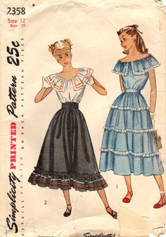 1940s Simplicity 2358 UNCUT Vintage Sewing by midvalecottage