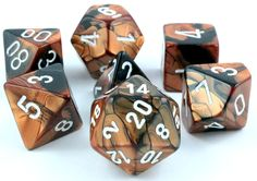 RPG Dice Set (Gemini Black and Copper) role playing game dice + bag