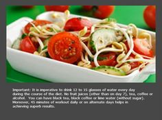 Day 5 Another feast day where you can eat sprouts, tomatoes and cottage cheese (paneer). You could also eat chicken or soya chunks. Supplement your diet with the wonder soup. Increase the intake of water on account of the urea formation.
