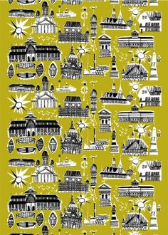 To celebrate being named World Design Capital for Helsinki is celebrating Marimekkon by re-releasing Per Olof Nyström's 1952 print Helsinki – Helsingfors. Textile Design, Fabric Design, Pattern Design, Marimekko Fabric, Winter Illustration, Helsinki, Finland, A Table, Printing On Fabric