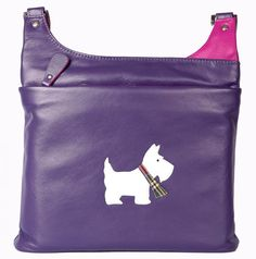 Stunning leather Scottie dog cross-over handbag. Fully outfitted with pockets…