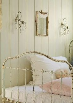 ♕ lovely bedroom with white iron bed frame