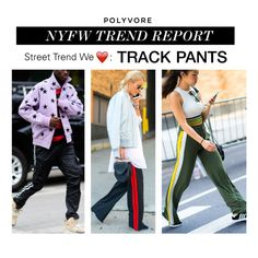 """NYFW Trend Report: Track Pants"" by polyvore-editorial ❤ liked on Polyvore featuring NYFW, trackpants and pvnyfw"