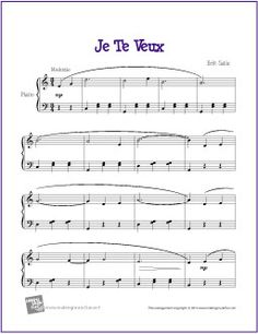 Je Te Veux (Satie) | Free Sheet Music for Piano