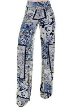 High Waist Fold Over Wide Leg Gaucho Palazzo Pants (Classic Blue Paisley) Casual Couture, Printed Palazzo Pants, Cool Outfits, Fashion Outfits, Next Fashion, Gaucho, Sewing Clothes, Camouflage, Fun Stuff