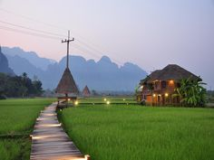 10 best places to stay in Vang Vieng, Laos; from hotels to guesthouses and villas, recommended for all types of travelers planning to visit the scenic area. Village House Design, Village Houses, Villas, Bali, Bamboo House, Farm Stay, Nature View, Resort Villa, Tropical Houses