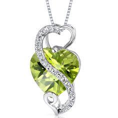 14 Karat White Gold Heart Shape 3.02 carats Peridot Diamond Pendant
