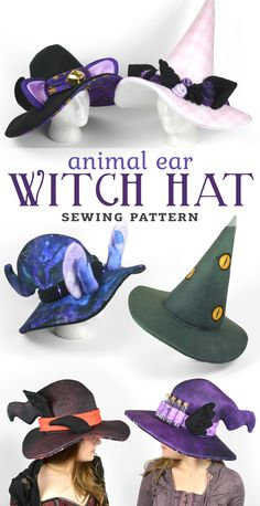 Witch Hat with Animal Ears Sewing Pattern .pdf Cat Unicorn Dragon Wizard - Witch Hat with Animal Ears Sewing Pattern . Plushie Patterns, Hat Patterns To Sew, Sewing Patterns Free, Free Sewing, Clothing Patterns, Hat Pattern Sewing, Crochet Crown Pattern, Boy Crochet Patterns, Crochet Appliques
