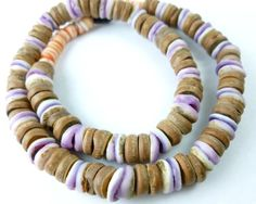 Natural Brown Coconut Purple and Red Lip Shell Heishi Beads 9mm | BeadSouk - Jewelry Supplies on ArtFire