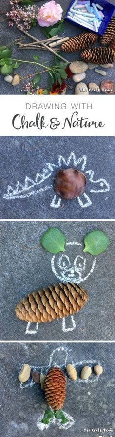 Drawing with chalk and nature – a simple process art idea Create art using natural items you have collected along with sidewalk chalk. Nature and chalk drawing is a fun, open-ended process art idea for kids. Nature Activities, Outdoor Activities For Kids, Outdoor Learning, Preschool Activities, Forest School Activities, Steam Activities, Summer Activities, Family Activities, Outdoor Education