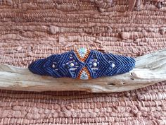 EurYbia Micro macrame bracelet Blue Orange by HeCateAccessories