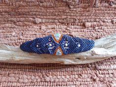 EurYbia Micro macrame bracelet Blue Orange by HeCateAccessories