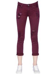 IRO DESTROYED COTTON DENIM JEANS, BORDEAUX. #iro #cloth #jeans