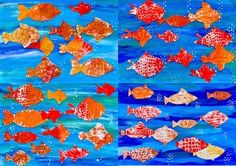 So many goldfish! Prints with styrofoam