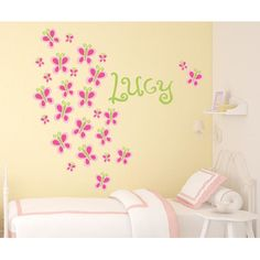 Alphabet Garden Designs Butterfly Bunch Wall Decal Vinyl Color: Dark Grey, Decal Fabric Color: Pink