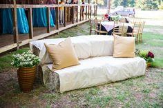 Barn Wedding Love Haybale Sofas - of course! Venue: The Barn at Twin Oaks Ranch (Dardanelle, Arkansas)