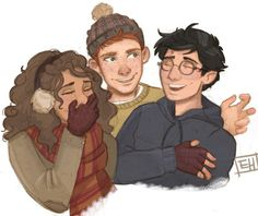 the best thing about Harry Potter is friendship and plaid Trio Harry Potter Drawings, Harry Potter Fan Art, Harry Potter Universal, Harry Potter Fandom, Harry Potter World, Ron And Hermione, Hermione Granger, Hogwarts, Hunger Games