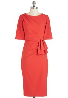 Refined Radiance Dress. Bold, bright, and beautiful - thats how you feel in this coral dress! #red #modcloth