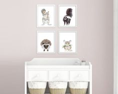 Set of 4 Woodland Nursery Prints, Baby Animal Portraits - Squirrel, Skunk, Hedgehog, and Mouse - Various Sizes Available. Set of 4 Woodland Nursery prints of Baby Animal portraits taken from my original watercolors. Includes a baby squirrel, baby skunk, baby hedgehog and baby mouse. QUALITY: Woodland Nursery prints printed with highest quality archival inks and fine art papers to ensure print set will last and be enjoyed for years to come. DETAILS: Choose 5x7, 8.5x11, 11x14, 13x19, 16x20…