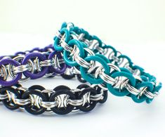Stretchy Parallel Chain or Helm Weave Chainmaille Bracelet Kit or Ready Made Bracelet