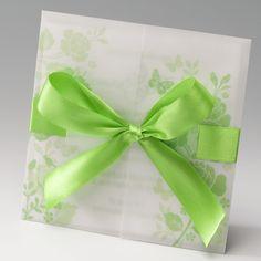Florals verts  Faire-part mariage avec papier calque et ruban