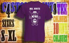 mens Breaking bad Mr White vinyl press Tshirt by customprintuk