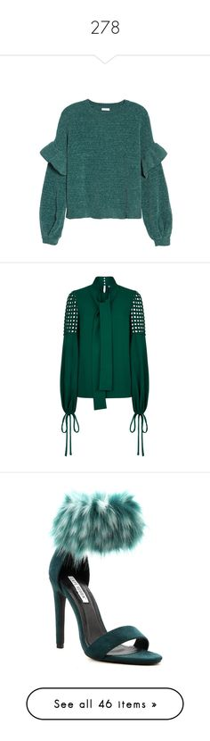 """""""278"""" by ansicht ❤ liked on Polyvore featuring tops, sweaters, green sweater, ruffle sleeve sweater, ruffle trim sweater, green ruffle top, chenille sweater, blouses, cold shoulder long sleeve blouse and cold shoulder tops"""