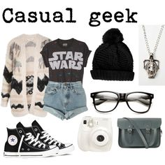 Casual geek style:) by obsessivelove on Polyvore featuring polyvore, fashion, style, Miss Selfridge, Levi's, Converse, The Cambridge Satchel Company, Topshop, Fuji and casual