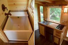 soaking tub and kitchen in tiny tea house ... on demand water heater used ... lots of ideas and shed style roofline with two skylights