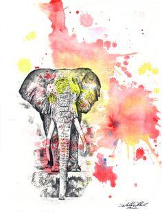 Elephant Animal Watercolor Painting - Original Watercolor Painting Great Baby Nursery Art