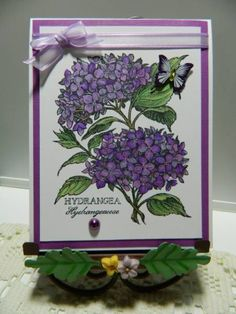 This Hydrangea is a retired PSX stamp. I used an assortment of copic markers. A few rhinestones on the leaves, sheer ribbon, pearls and a butterfly brad from Recollections finish the simple sized birthday card. Flower Cards, Paper Flowers, Purple Cards, Beautiful Handmade Cards, Cards For Friends, Pretty Cards, Cool Cards, Greeting Cards Handmade, Homemade Cards