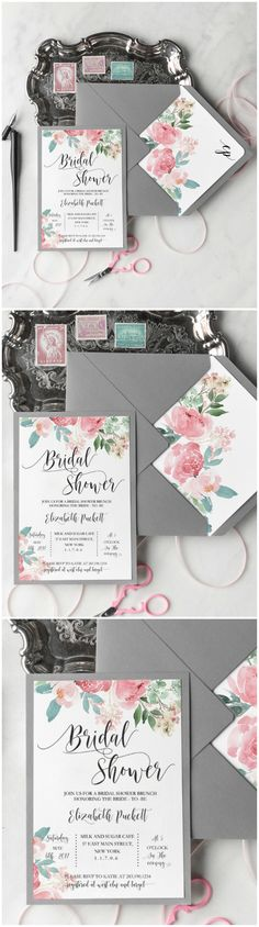 Floral Watercolor Bridal Shower Invitations #grey #floral $watercolor #romantic #wedding #bridetobe #weddingplanning #elegant #flowers
