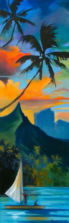 Sail Tahiti Painting by Artist Wade Koniakowsky