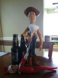 Woody & the naughty Elf on the Shelf